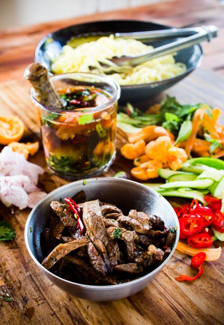 Beef noodle salad with mandarin Nam Jim