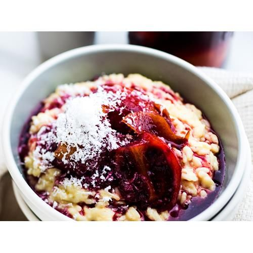 Sweet risotto with spiced tamarillo's
