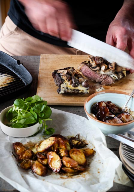 Mushroom glazed rump steak with shallots and roasted perlas