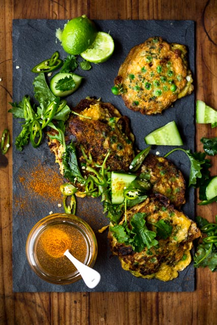 Green fritters with cayenne honey