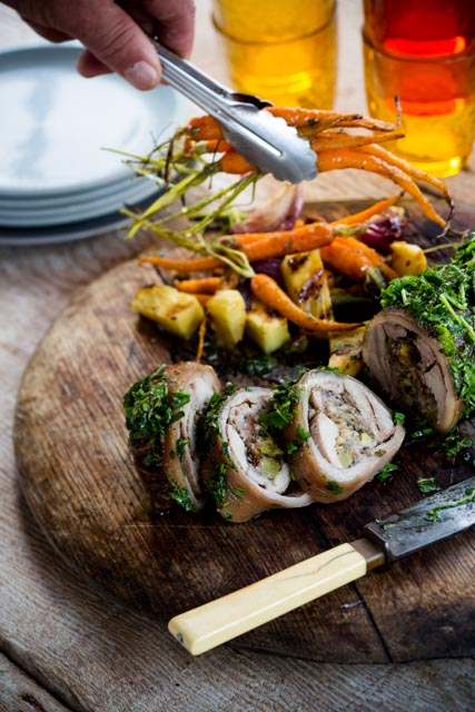 Christmas rolled pork with coriander crust