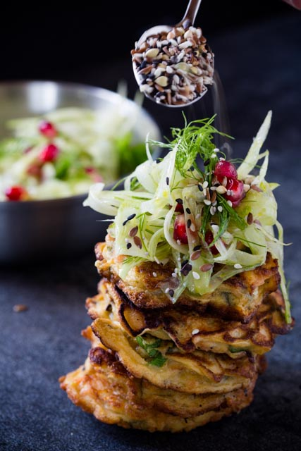 Smoked Trevally Pikelets with Fennel Salad