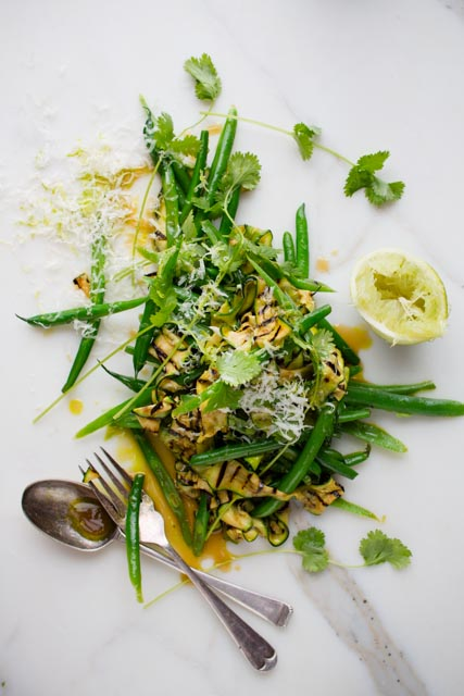 Courgette & Coriander salad with a lemon tahini dressing